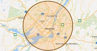 Régions desservies par USQ : Laval, Rive-Nord, Laurentides, Montréal et Rive-Sud